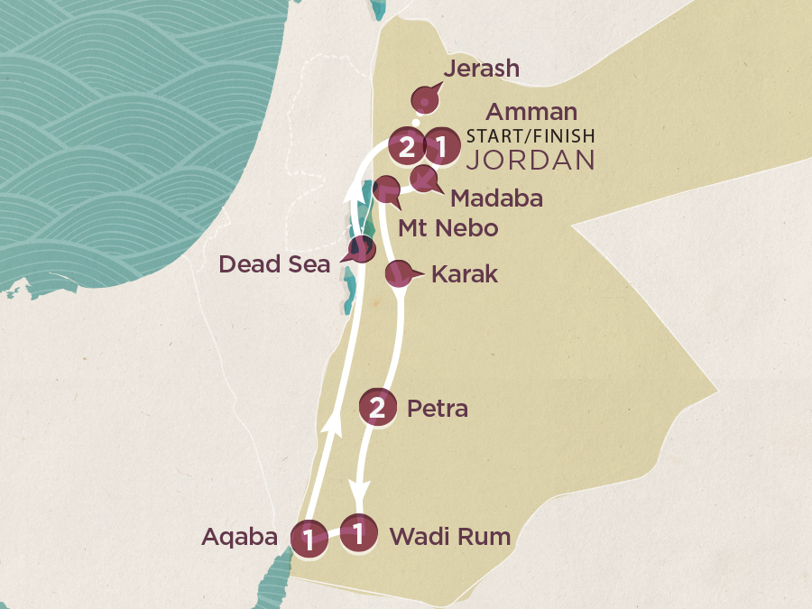 Map of Jordan Adventure | Topdeck Travel