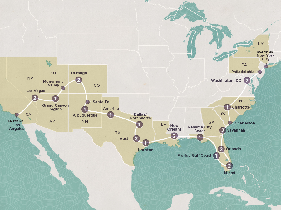 Map of Road Trip USA (ex. Los Angeles) 2020-21| Topdeck