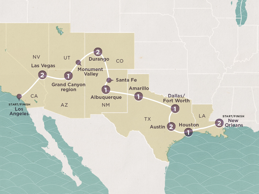 Map of Southwest States | Topdeck Travel
