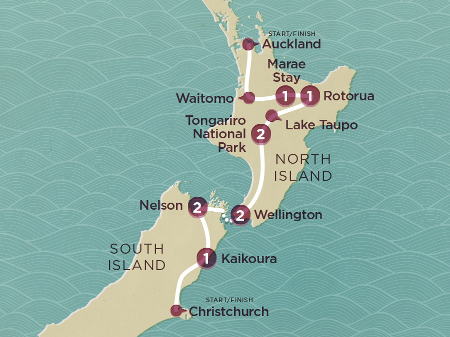Map of City to City (Ex Auckland) 2020-21 | Topdeck