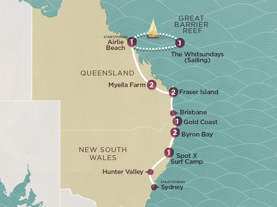 Map of East Coast Cruisin (Ex Sydney) 2020-21 | Topdeck