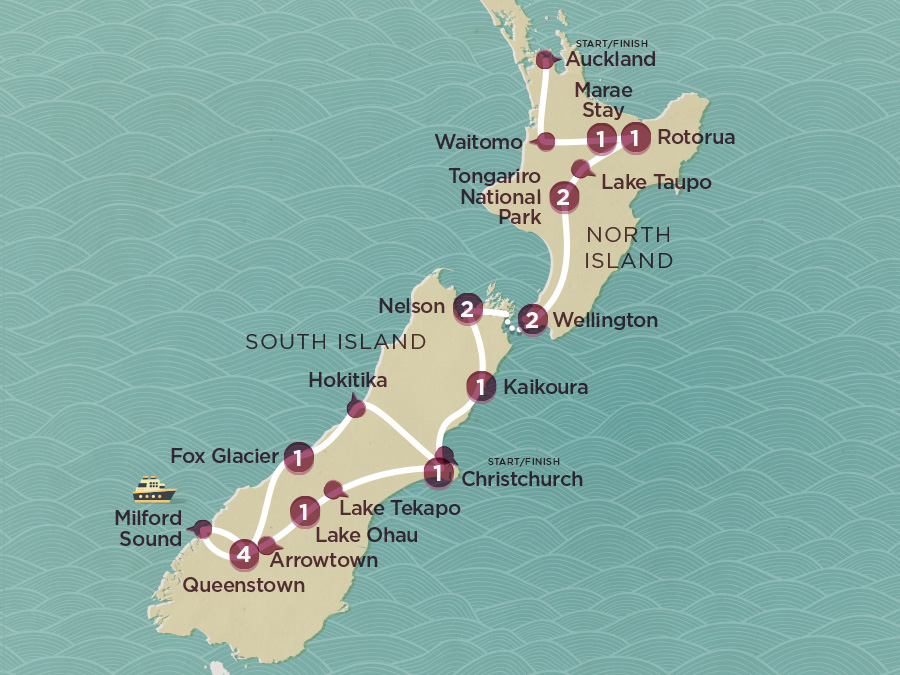 Map of Kiwi Encounter (Ex Auckland) 2020-21