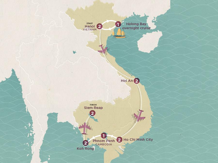 Vietnam & Cambodia Explorer Map