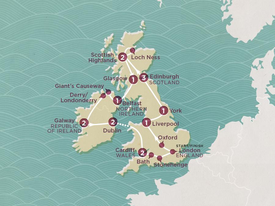 Winter Britain & Ireland Map