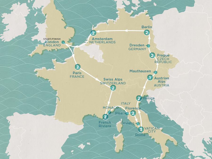 European Getaway Map