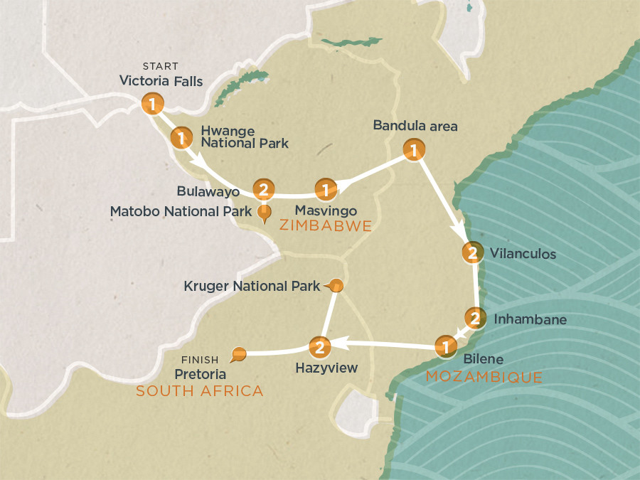 Map of Day Mozambique Zimbabwe Explorer EXvictoria Falls