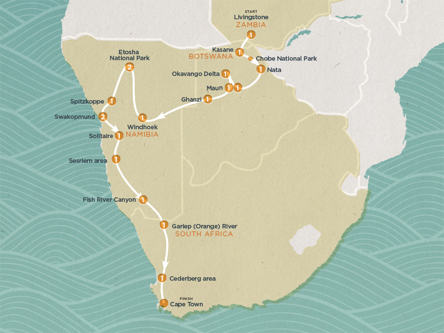 Map of Day South West Safari