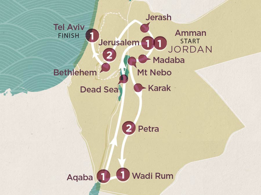 Map of Jordan and Israel | Topdeck Travel