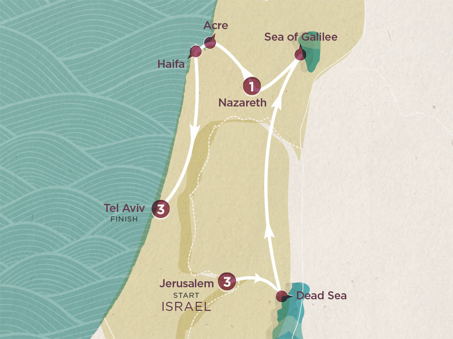 Map of Tales of Israel | Topdeck Travel