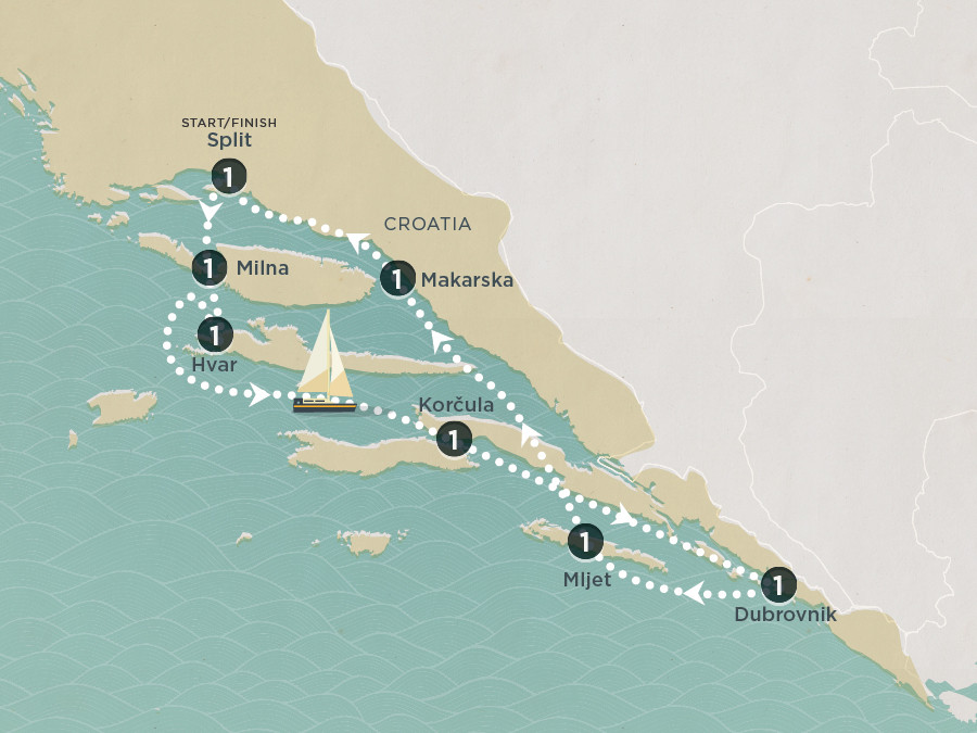 Map of Croatian Riviera