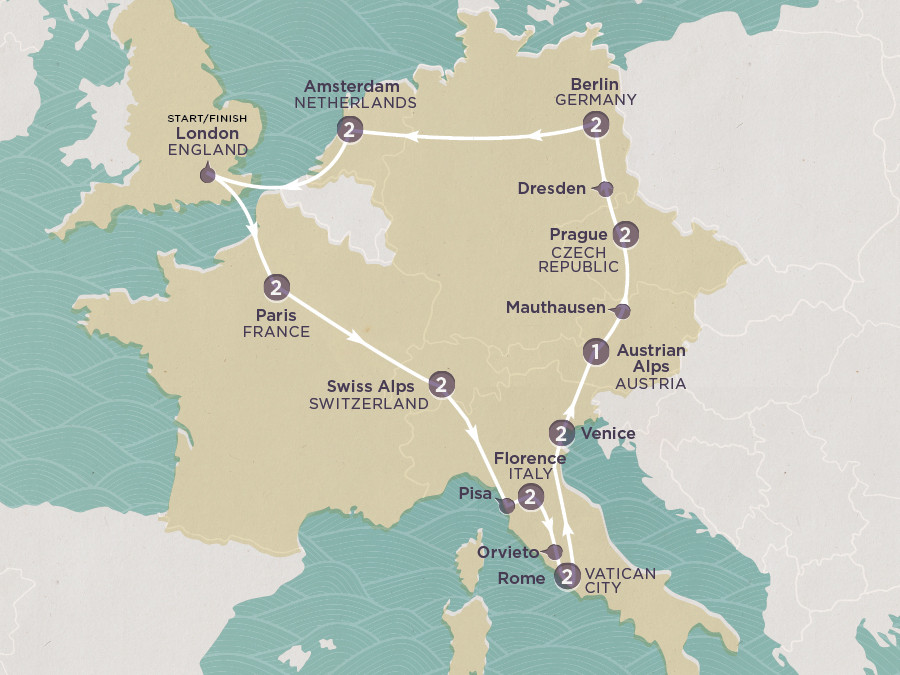 Map of European Odyssey