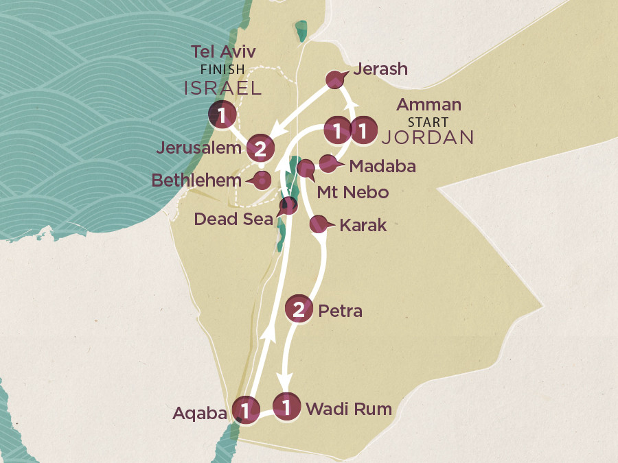 Map of Jordan & Israel 2020-21 | Topdeck