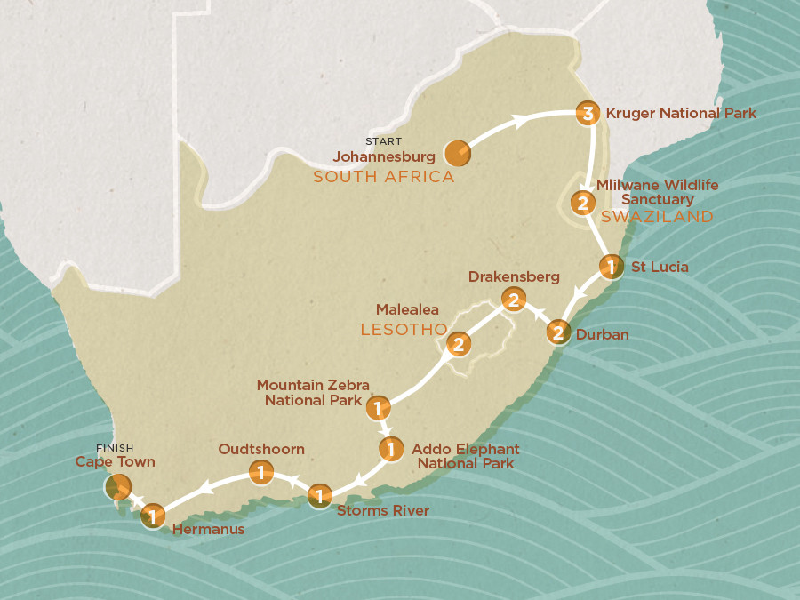 Map of South African Adventure 2020-21 | Topdeck