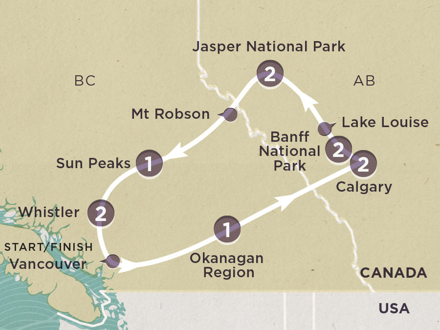 Map of Canadian Rockies Calgary
