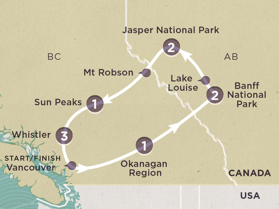 Map of Canadian Rockies 2020| Topdeck