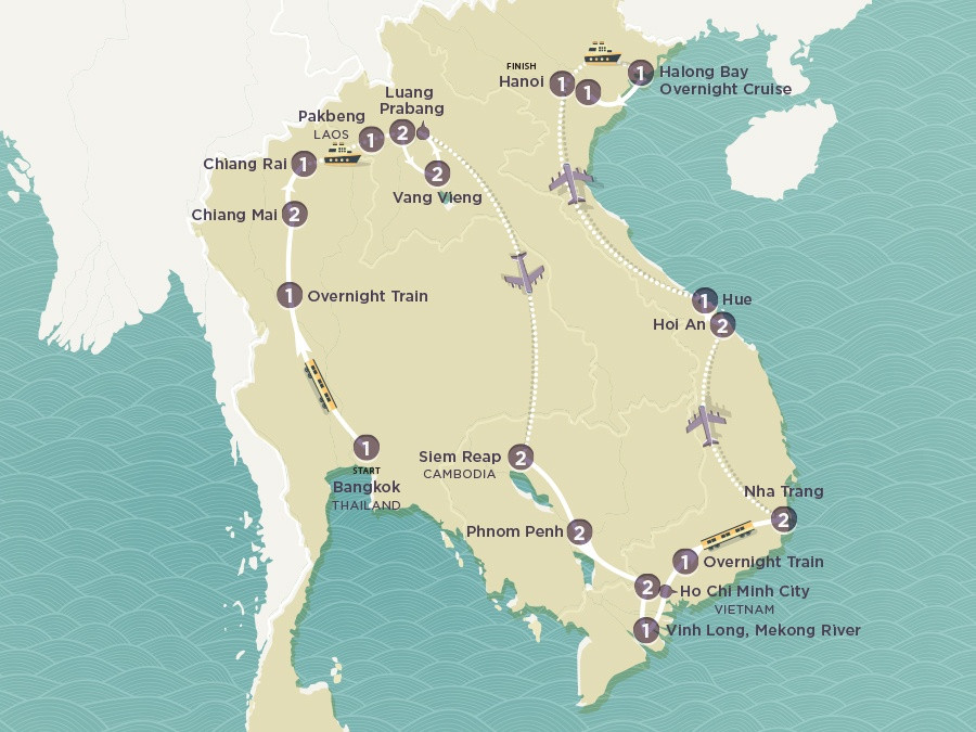 Map of Asian Fusion | Topdeck Travel