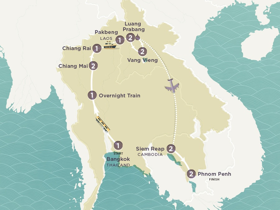 Map of Road to Phnom Penh | Topdeck Travel