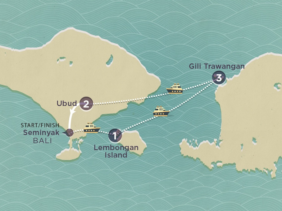Map of Bali Island Hopper | Topdeck Travel