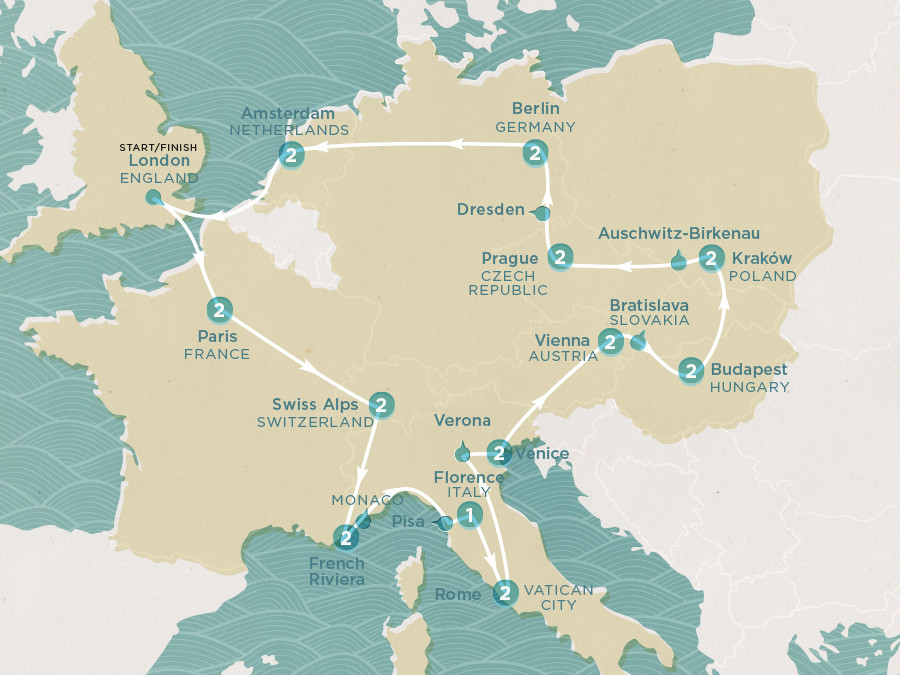 Map of Spirit of Europe | Topdeck Travel