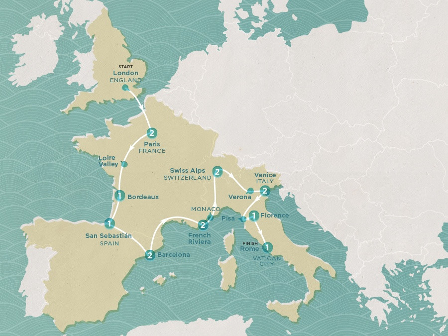 Map of Classic Europe | Topdeck Travel