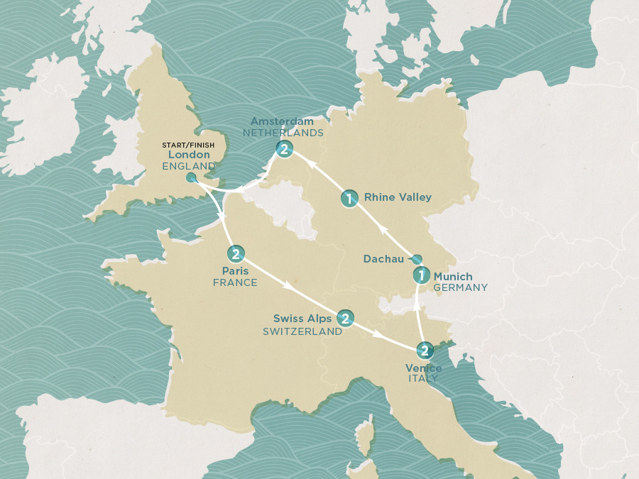 Map of Europe Express | Topdeck Travel