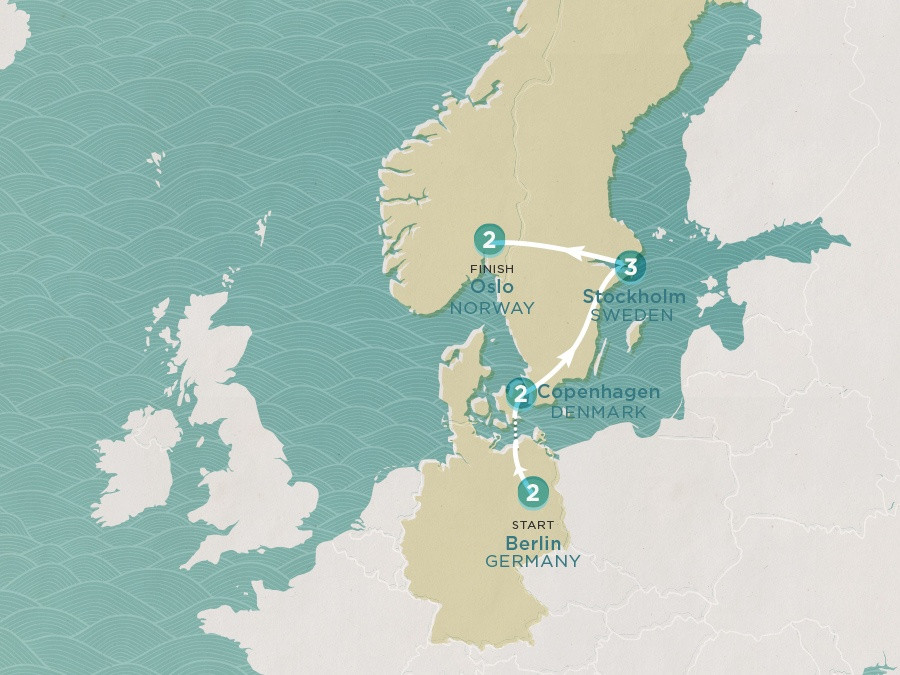 Map of Scandi Express | Topdeck Travel