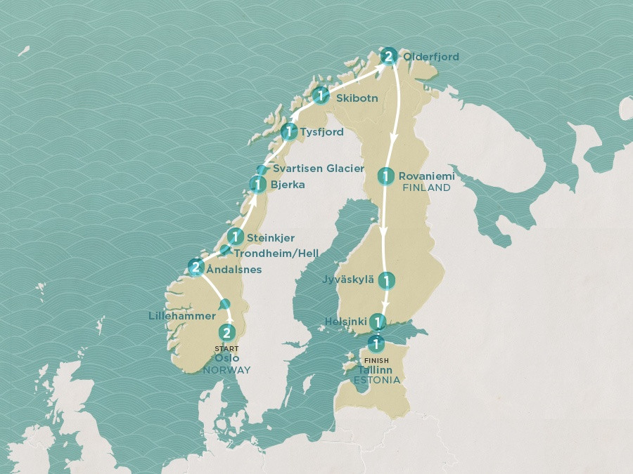 Map of Scenic Scandi | Topdeck Travel