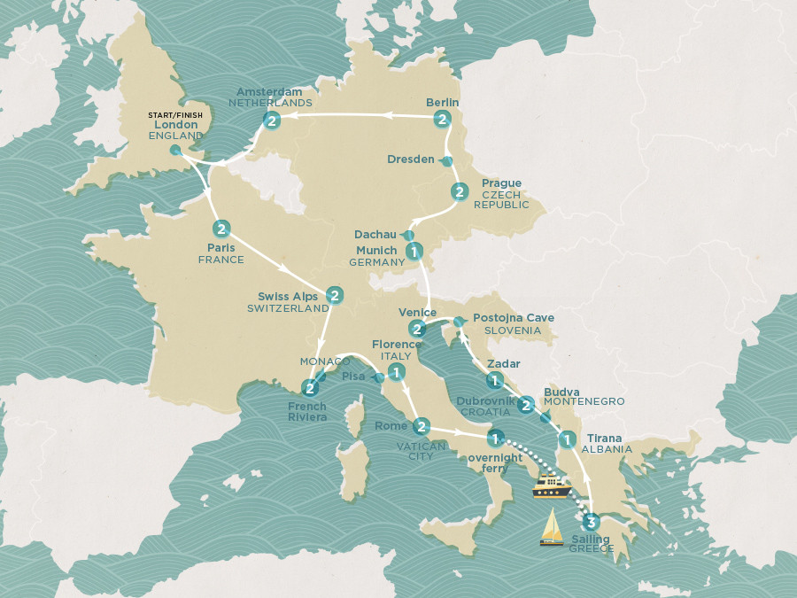 Map of Summer Fun & Sailing | Topdeck Travel