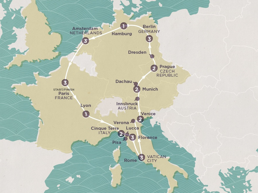 Map of European Promenade | Topdeck Travel