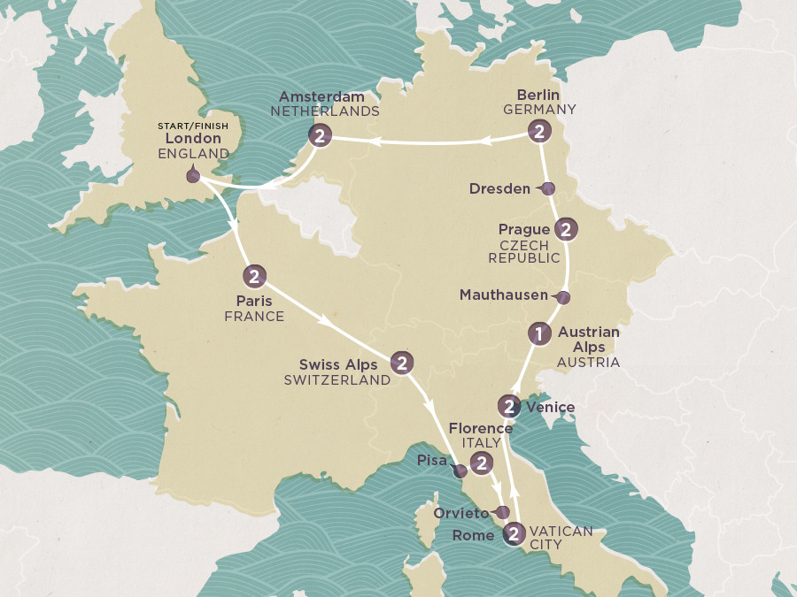 Map of European Odyssey | Topdeck Travel