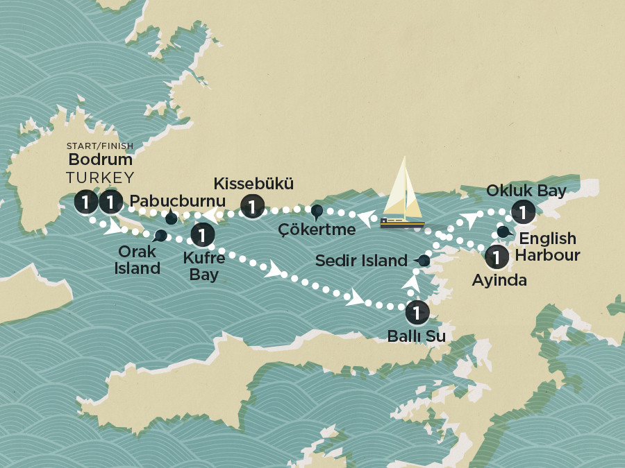 Map of Bodrum Sailing (Piccolo) Bodrum - Bodrum 2020 | Topdeck