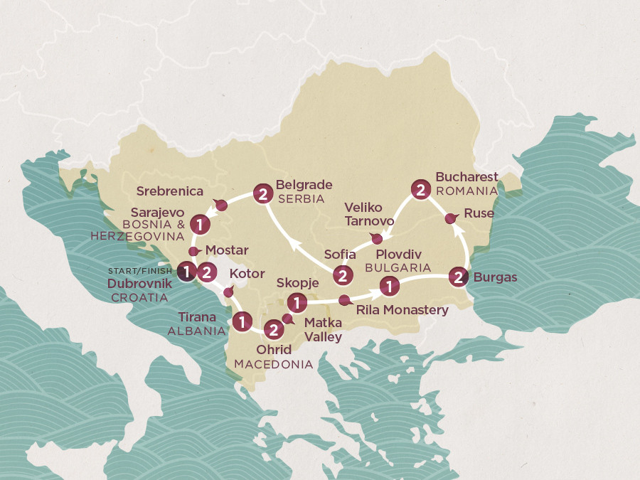 Map of The Big Balkan | Topdeck Travel
