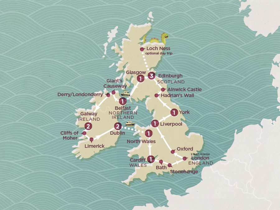 Map of Britian and Ireland | Topdeck Travel