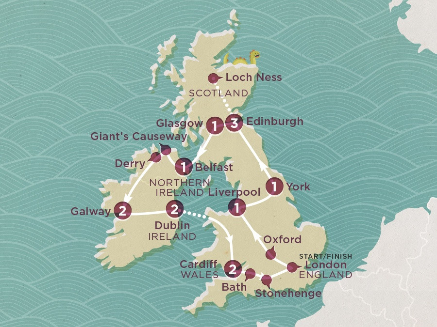 Map of Winter Britain & Ireland | Topdeck Travel