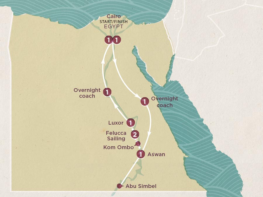 Map of Egypt Express | Topdeck Travel