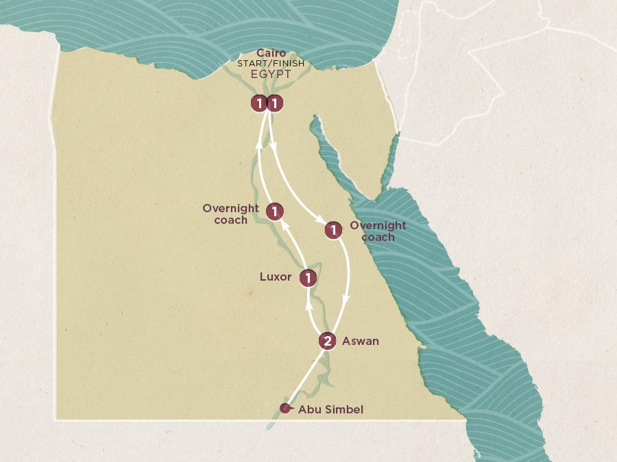 Map of Essential Egypt | Topdeck Travel