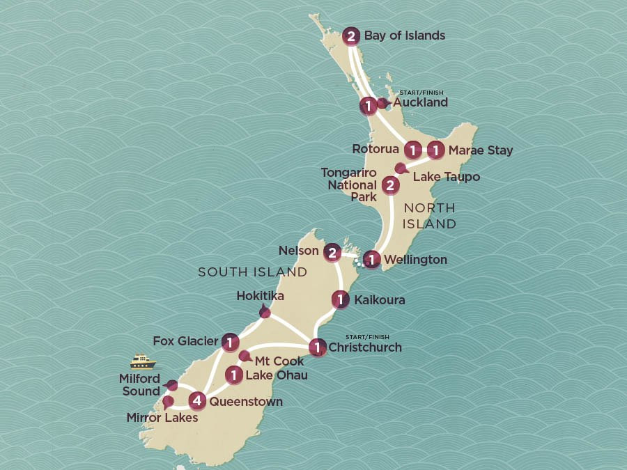 Map of Grand Kiwi | Topdeck Travel