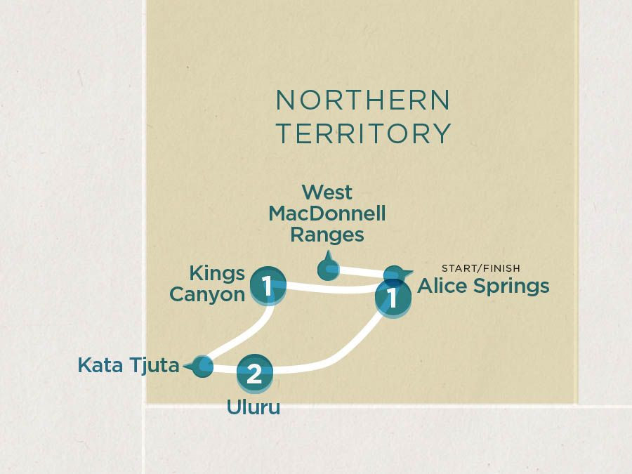 Map of Uluru Discovery | Topdeck Travel