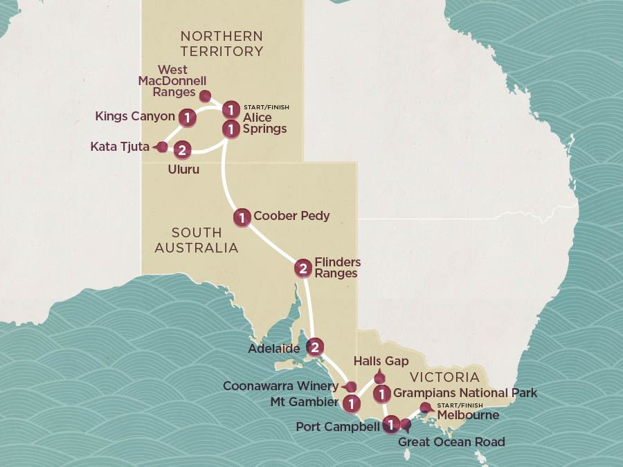 Map of Down South & Outback | Topdeck Travel