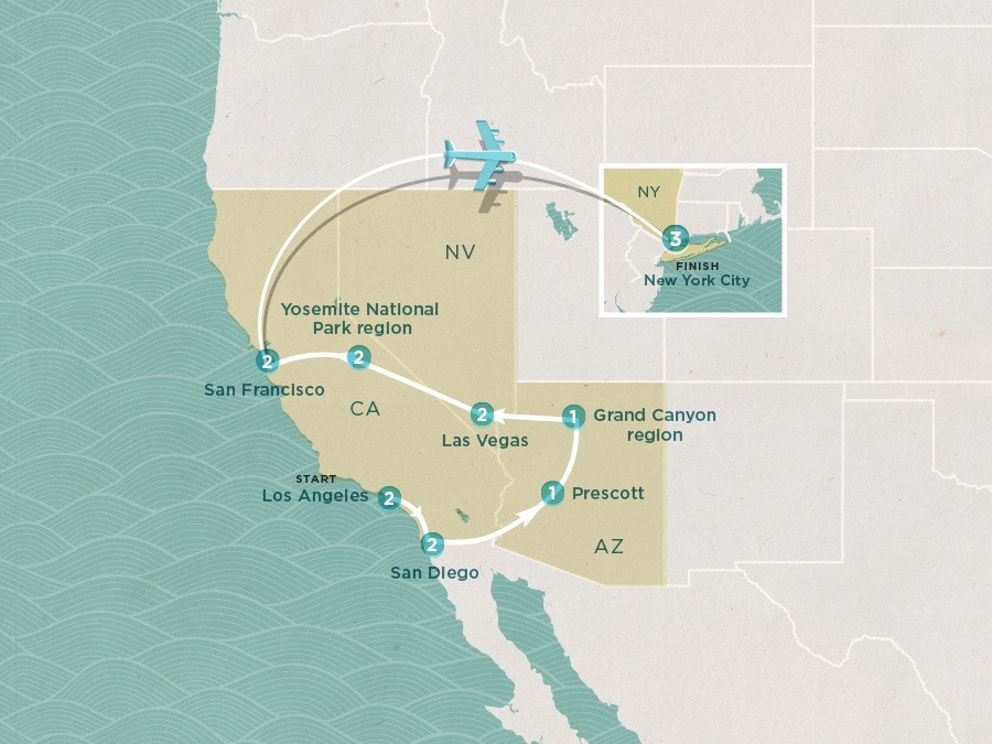 Map of American Dream | Topdeck Travel