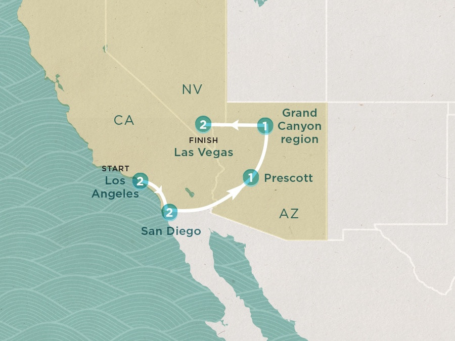 Map of Coast to Vegas | Topdeck Travel