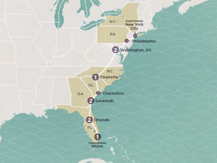 Map of Southern Charm | Topdeck Travel
