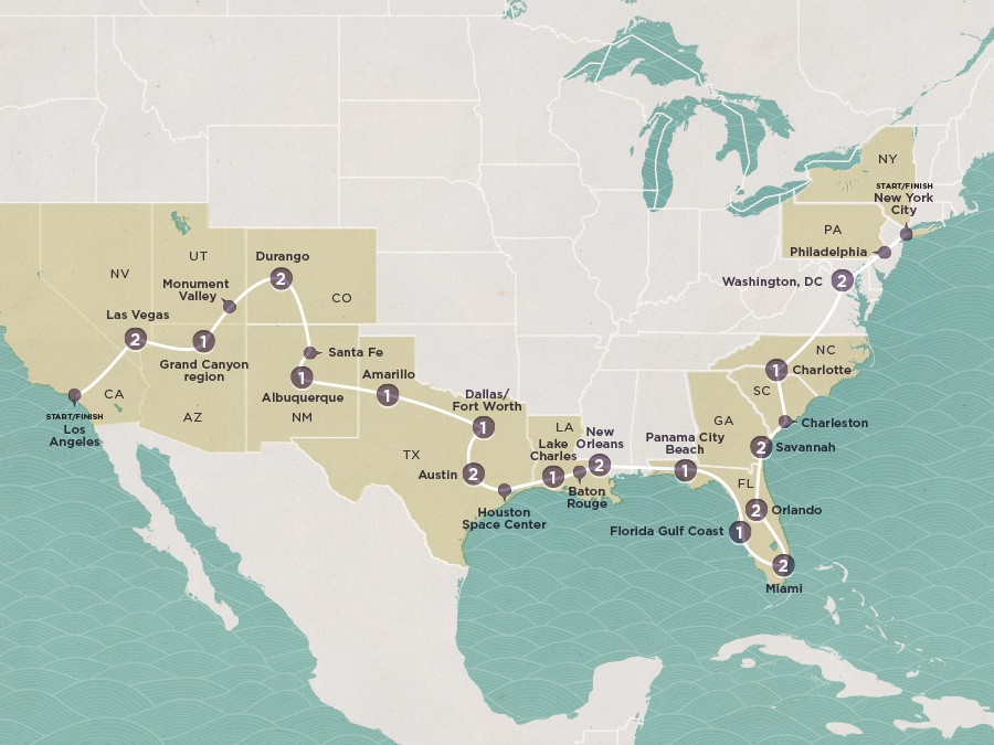 Map of Road Trip USA | Topdeck Travel